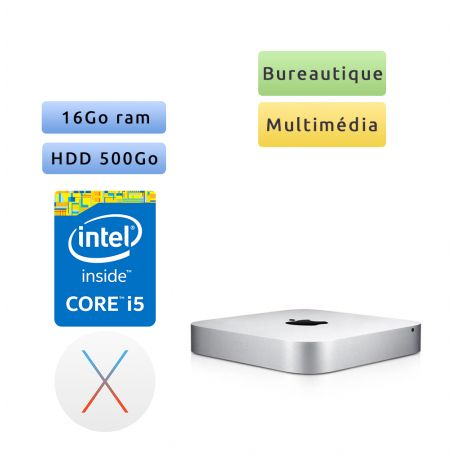 Apple Mac mini A1347 Core i5 2.5GHz 16GB 500GB - Macmini6.1 - 2012 - Unité Centrale Apple