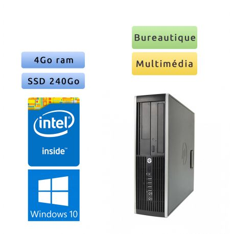HP Compaq 6005 Pro SFF - Windows 10 - 4Go 240go SSD - Port Serie - PC Tour Bureautique Ordinateur