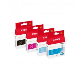 Lot 4 Cartouches d'encres Canon - Cyan CLI-8PC CLI-8C - Noir CLI-8BK - Magenta CLI-8M