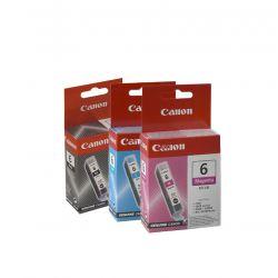 Lot 3 Cartouches d'encres Canon - Cyan BCI-6C - Noir BCI-6BK - Magenta BCI-6M