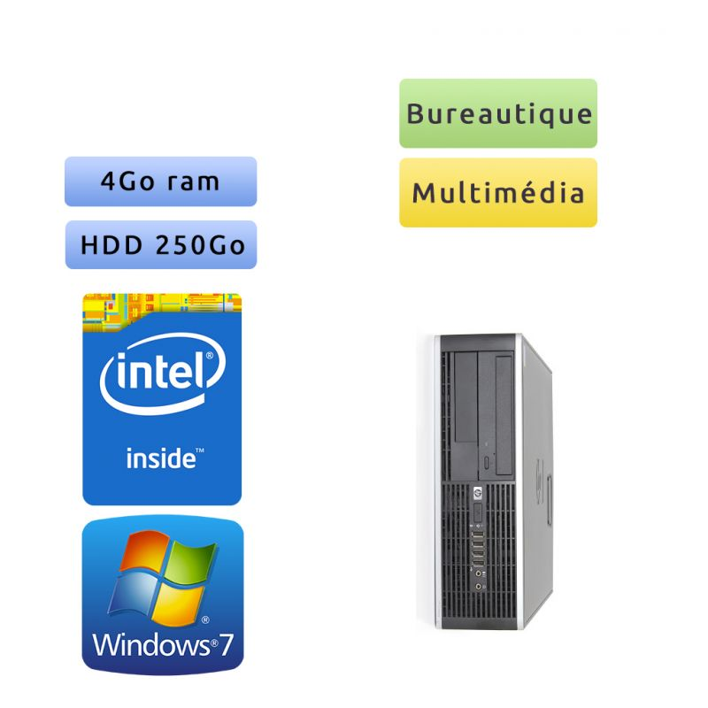Hp 8000 Elite SFF - Windows 7 - 2.7Ghz 4Go 250Go - Port Serie - PC Tour Bureautique Ordinateur
