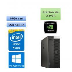 Dell Precision T5810 - Windows 10 - E5-1620 v3 16Go 500Go SSD - Port Serie - Ordinateur Tour Workstation PC