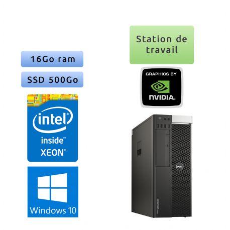 Dell Precision T5810 - Windows 10 - E5-1620v3 16Go 500Go SSD - K6000 - Ordinateur Tour Workstation PC