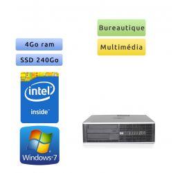 Hp 8000 Elite SFF - Windows 7 - 2.7Ghz 4Go 240Go SSD - Port Serie - PC Tour Bureautique Ordinateur