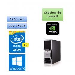 Dell Precision T7500 - Windows 10 -2*X5660 24Go 240Go SSD - Port Serie et Parallele - Ordinateur Tour Workstation PC