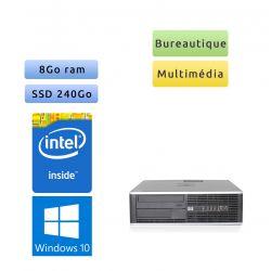 HP 8000 Elite SFF - Windows 10 - 2.7Ghz 8Go 240Go SSD - Port Serie - PC Tour Bureautique Ordinateur