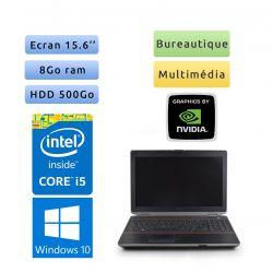 Dell Latitude E6520 - Windows 10 - i5 8Go 500Go - 15.6 - Webcam - Grade B - Ordinateur Portable PC