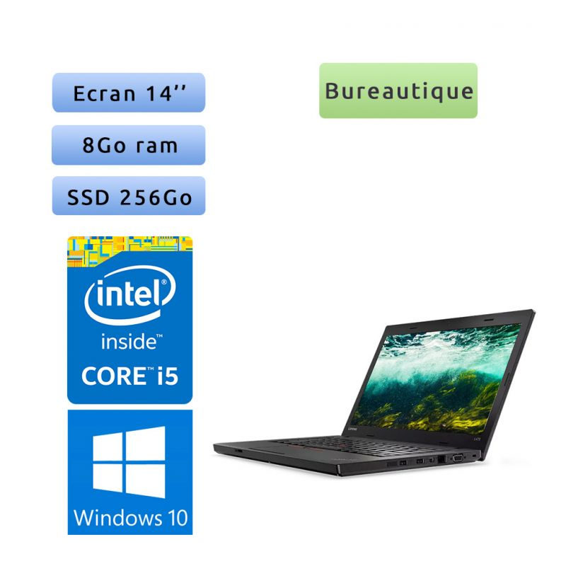 Lenovo ThinkPad L470 - Windows 10 - i5 8Go 256Go SSD - 14 - Webcam - Ordinateur Portable PC