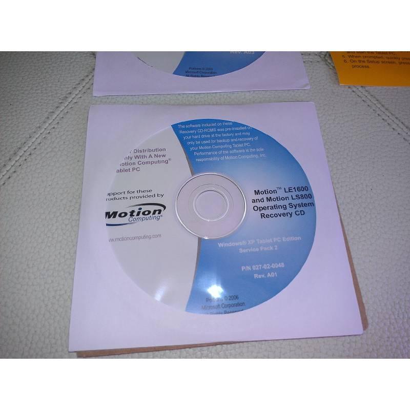 CD de rétablissement Motion Computing LE1600 et LS800 et Licence XP Tablet PC d'origine - Francais